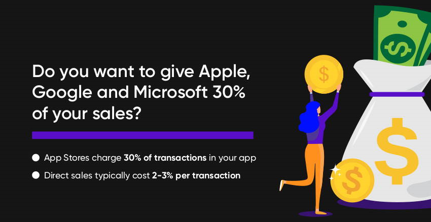 Do You Want to Give Apple, Google and Microsoft 30% of Your Revenue?