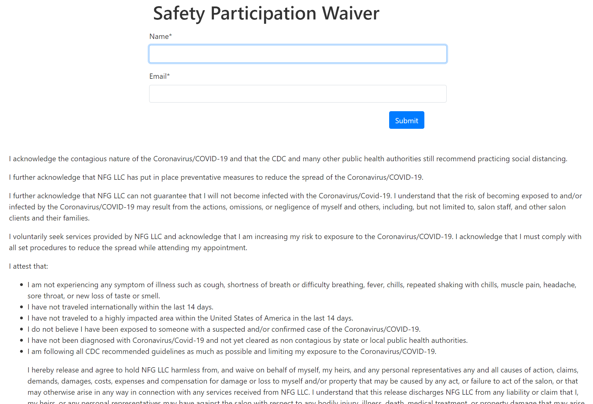Example Covid Participation Waiver