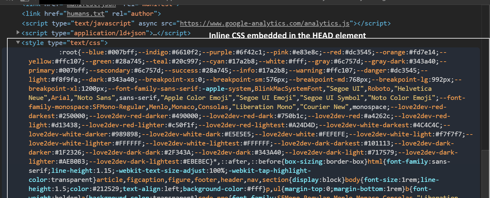 Example Inlined CSS