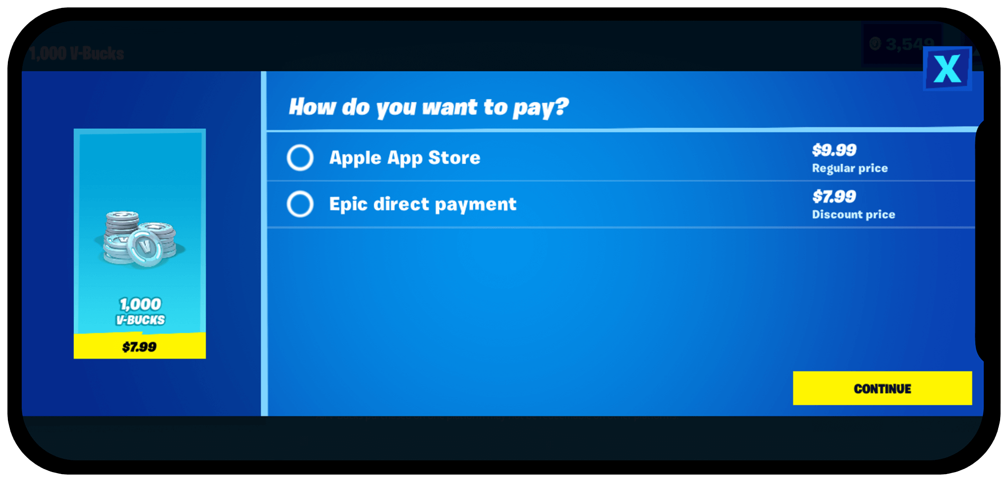 Fortnite In-App Payment vs Apple