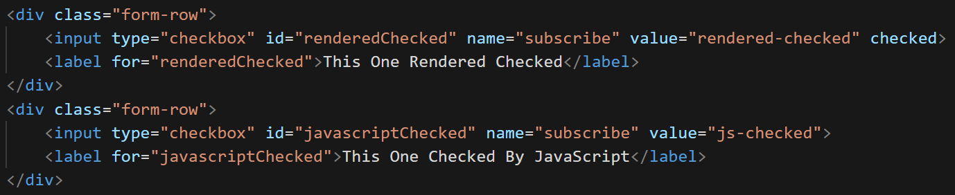 Using The Html Checkbox And Managing The Check State With